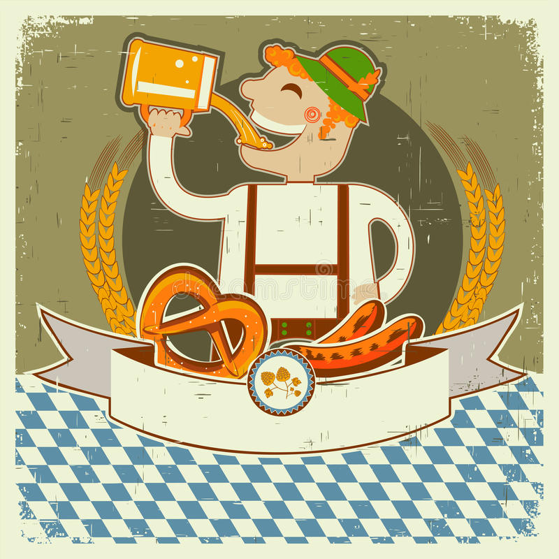 Vintage oktoberfest posterl label with man and bee stock illustration