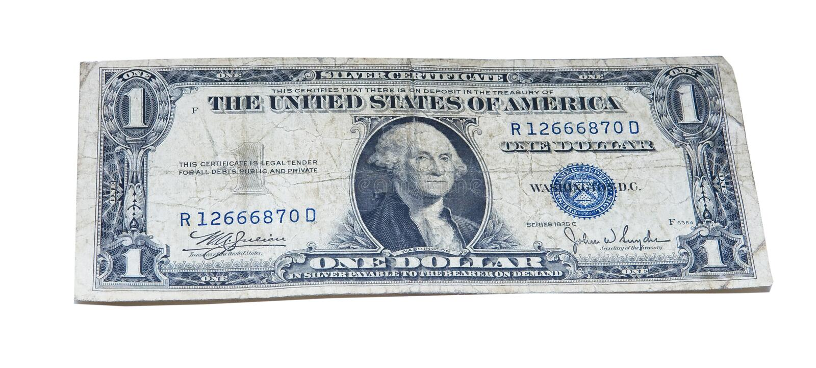 Vintage Old American Dollar Bill stock images