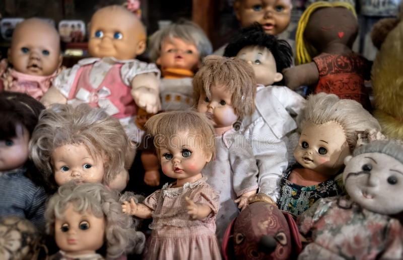 Vintage old baby dall toys collection royalty free stock photos