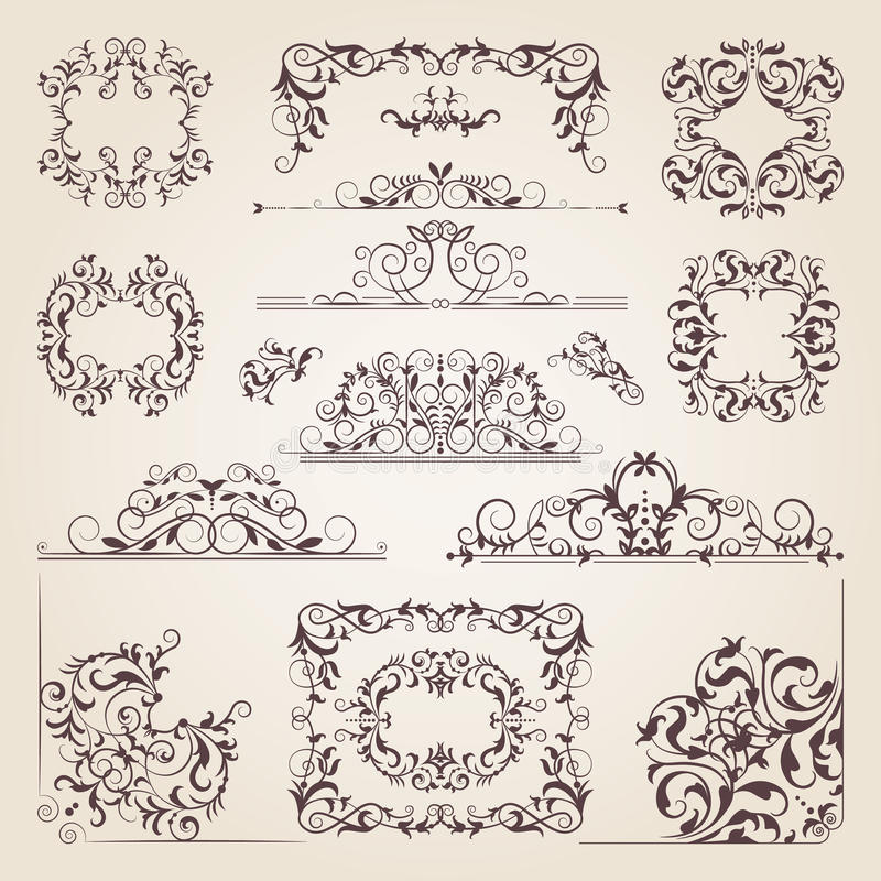 Vintage old banners, swirls, corners and different borders. Vector decorative frames. Design elements for your project stock illustration