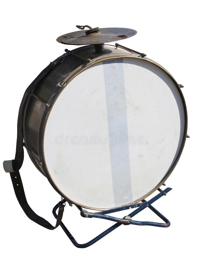Vintage old bass drum isolated on white background stock photo
