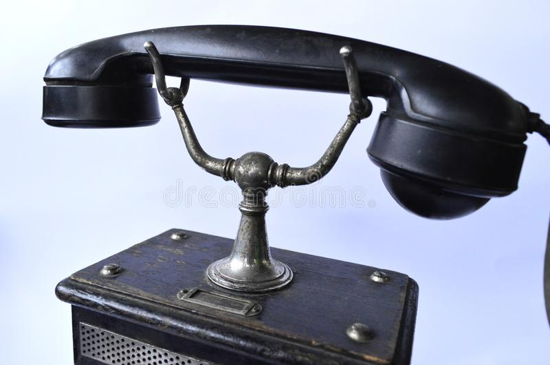 Vintage old black phone stock images