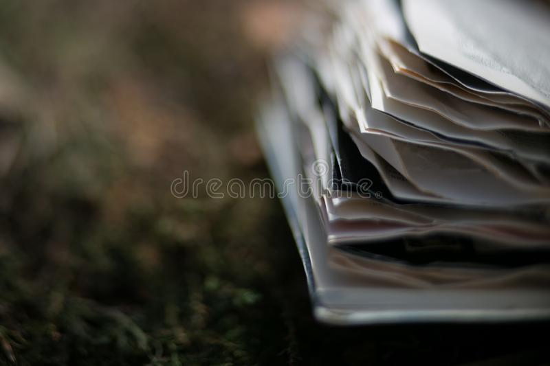 Vintage old books on blurred background, place for text stock photography