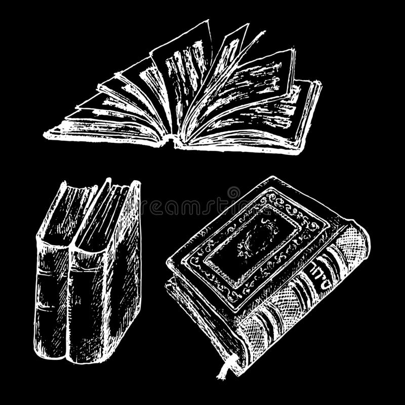 Vintage old books hand drawn sketch vector illustration. Old leather book or dairy white chalk on black background and stock illustration