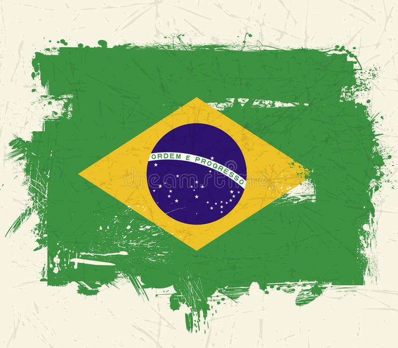 Vintage Old Brazil Flag Grunge On Grung Background Stock Photography