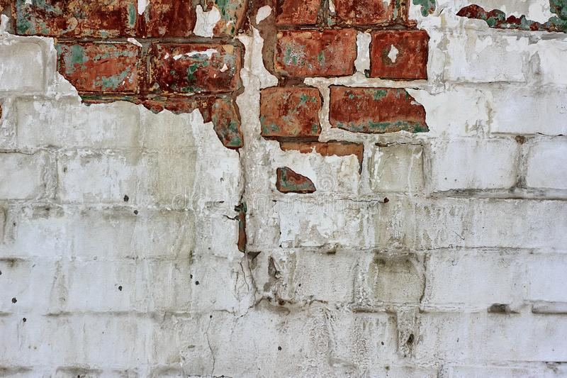 Vintage Old Brick Wall Texture. Grunge Red White Stonewall Background. Distressed Wall Surface. Grungy Wide Brickwall. Shabby Buil royalty free stock photography