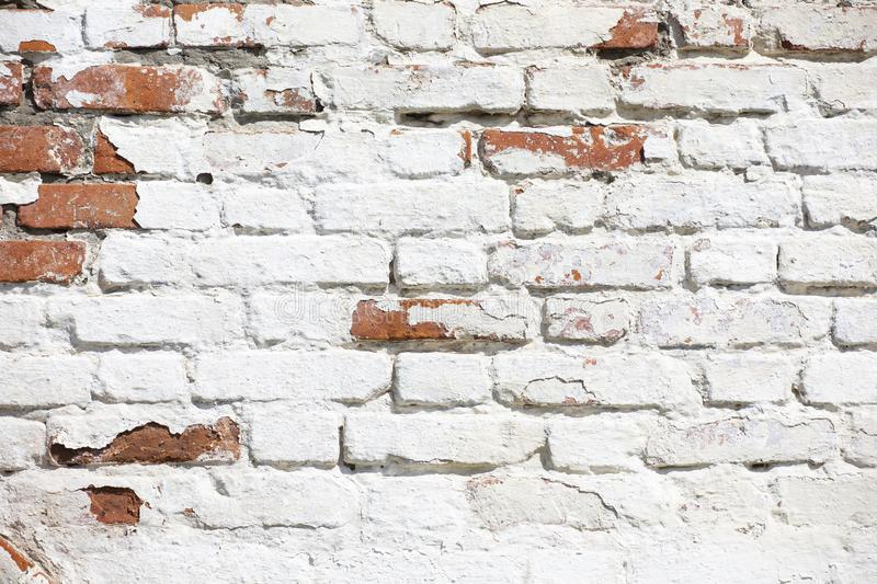 Vintage Old Brick Wall Texture. Grunge Red White Stonewall Horizontal Background. Shabby Building Facade With Damaged Plaster stock images