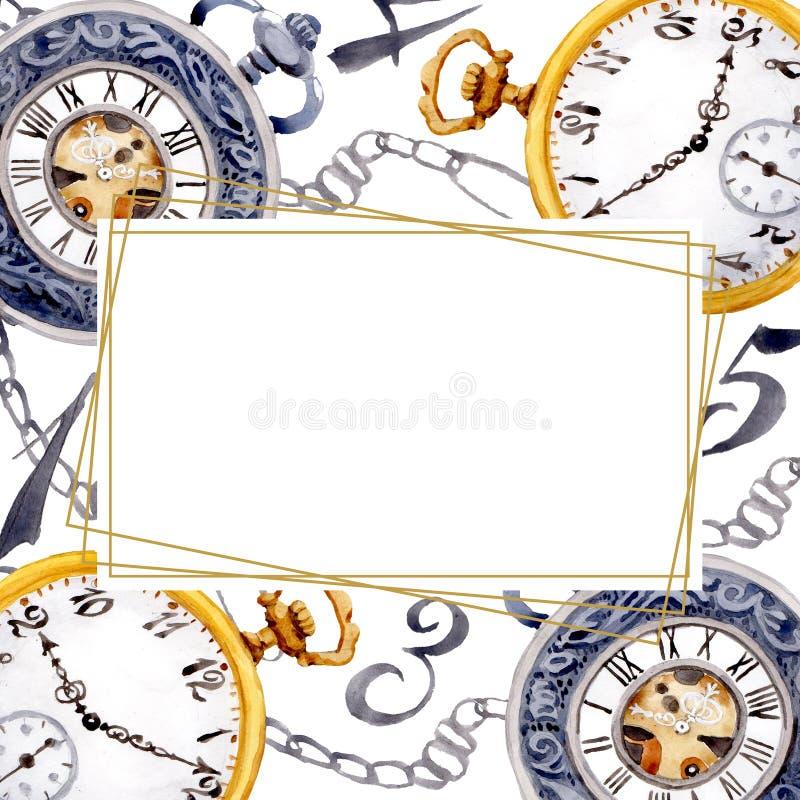 Vintage old clock pocket watch. Watercolor background illustration set. Frame border ornament square. Vintage old clock pocket watch. Watercolor background vector illustration