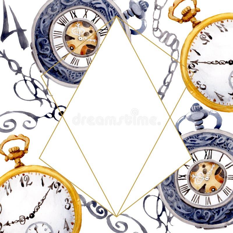 Vintage old clock pocket watch. Watercolor background illustration set. Frame border ornament square. Vintage old clock pocket watch. Watercolor background stock illustration
