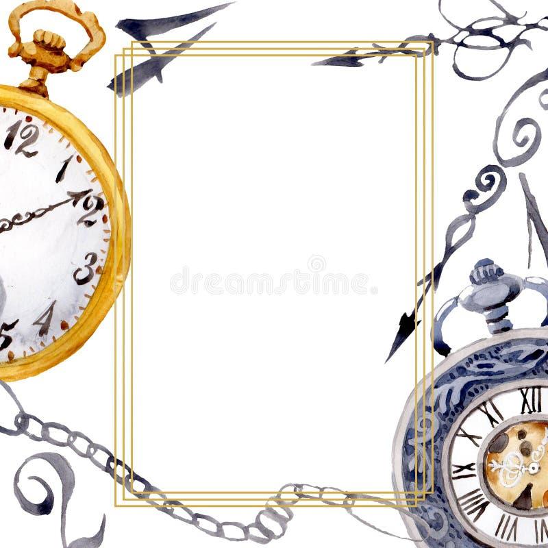 Vintage old clock pocket watch. Watercolor background illustration set. Frame border ornament square. Vintage old clock pocket watch. Watercolor background royalty free illustration