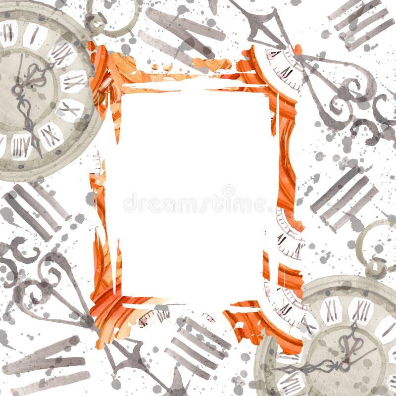 Vintage old clock pocket watch. Watercolor background illustration set. Frame border ornament square. royalty free illustration