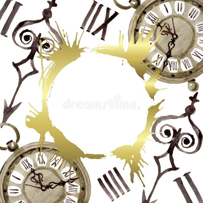 Vintage old clock pocket watch. Watercolor background illustration set. Frame border ornament square. Vintage old clock pocket watch. Watercolor background royalty free stock photo