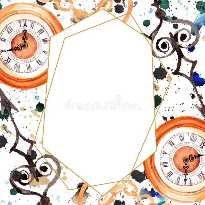 Vintage old clock pocket watch. Watercolor background illustration set. Frame border ornament square. Vintage old clock pocket watch. Watercolor background stock images