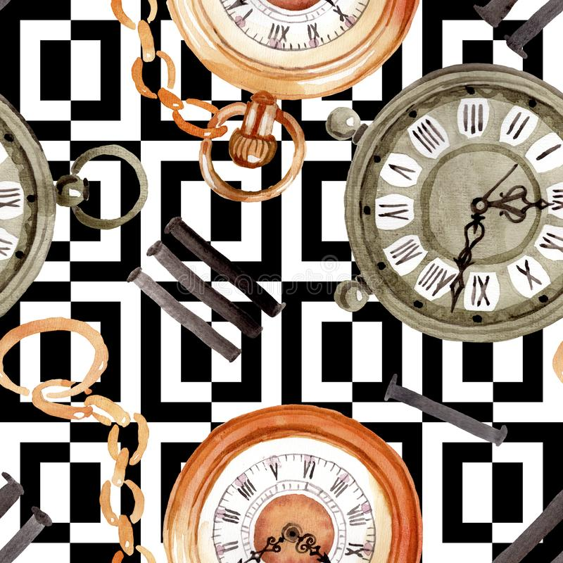 Vintage Old Clock Pocket Watch  Watercolor Background