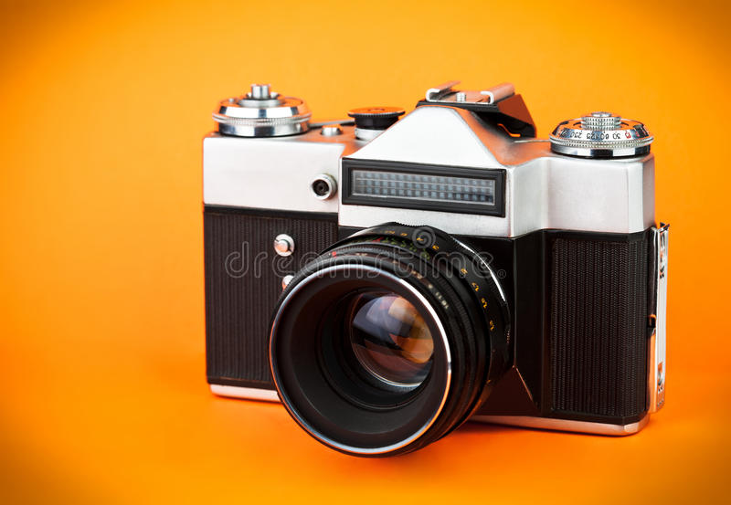 Vintage Old Film Photo-camera Stock Images