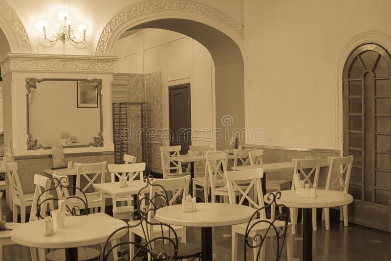 Download Cafe In The Vintage Style Stock Image Of Tables