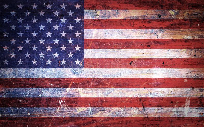 Vintage Old Grunge American Flag. An old and vintage grunge American flag background royalty free stock photos