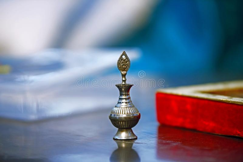 Brass Surmedani Royalty Free Stock Photos. Vintage Old Indian Brass Carved Eye Liner Powder Box. Surmedani Royalty Free Stock Photos. Surme Dani for the sehra royalty free stock image