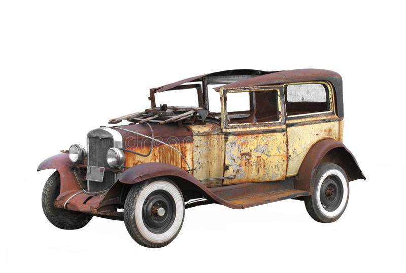 Download Vintage Old Junked Car Isolated. Stock Image - Image: 26564339