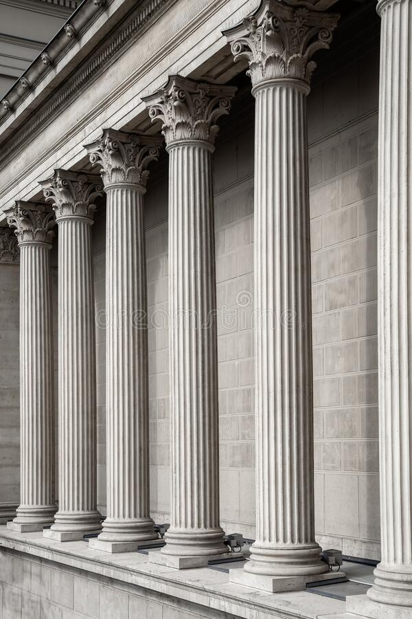 Free Vintage Old Justice Courthouse Column. Neoclassical Colonnade With Corinthian Columns As Part Of A Public Building Stock Image - 171467761