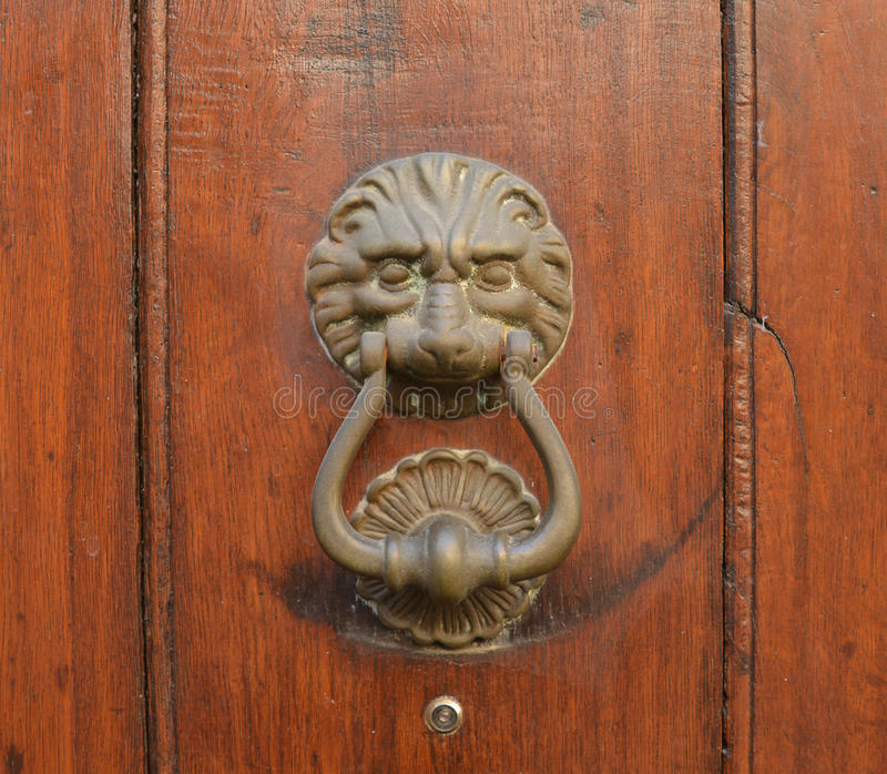 Vintage old knock on the door stock photo