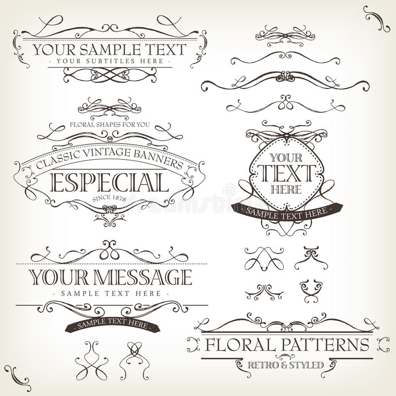 Vintage Old Labels Banners And Frame royalty free illustration