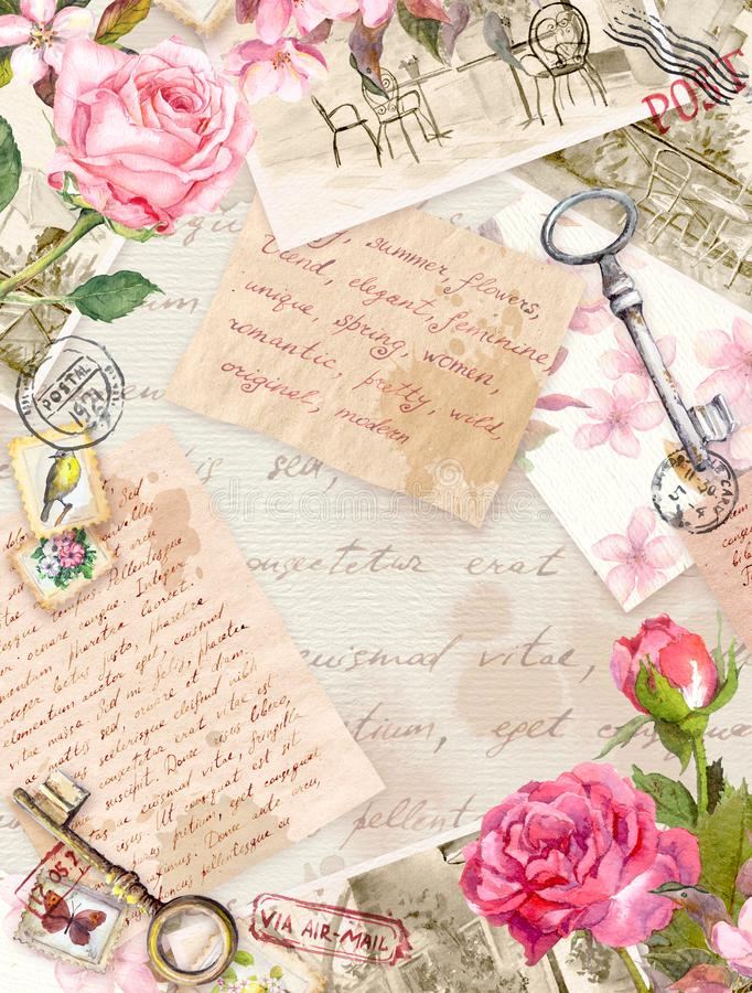 Vintage old paper with hand written letters, photos, stamps, keys, watercolor rose flowers. Card or blank design stock image