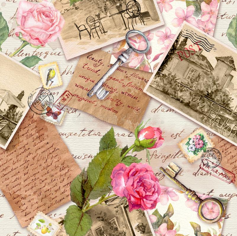 Vintage old paper with hand written letters, photos, stamps, keys, watercolor rose flowers for scrap book. Nostalgic royalty free stock image