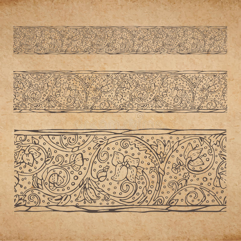 Vintage old paper texture background with floral ornamental seamless border royalty free illustration