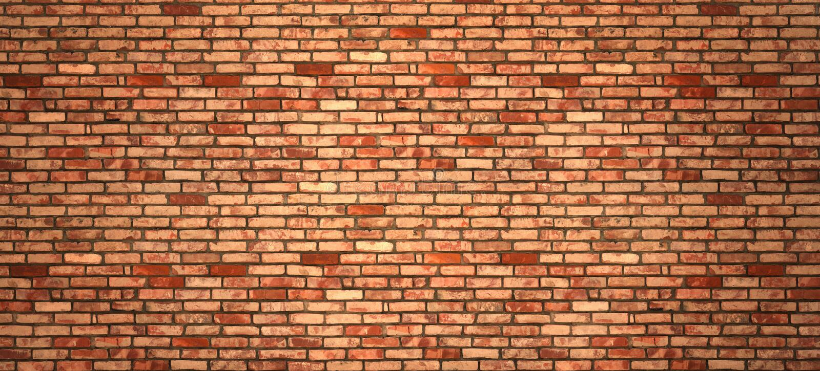 Vintage old red wash brick wall texture. Panoramic background for your text or image stock photos