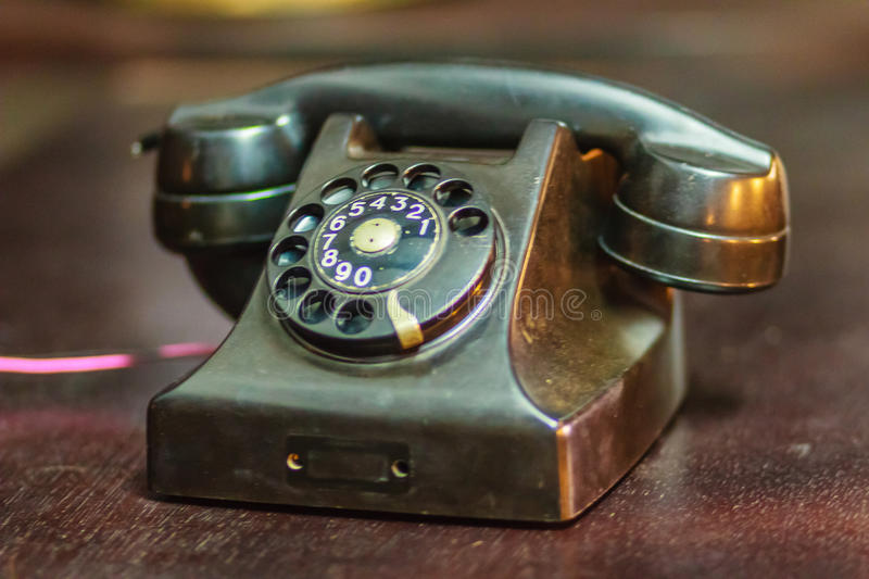 Vintage old rotary telephone. Antique rotary telephone collection. royalty free stock image
