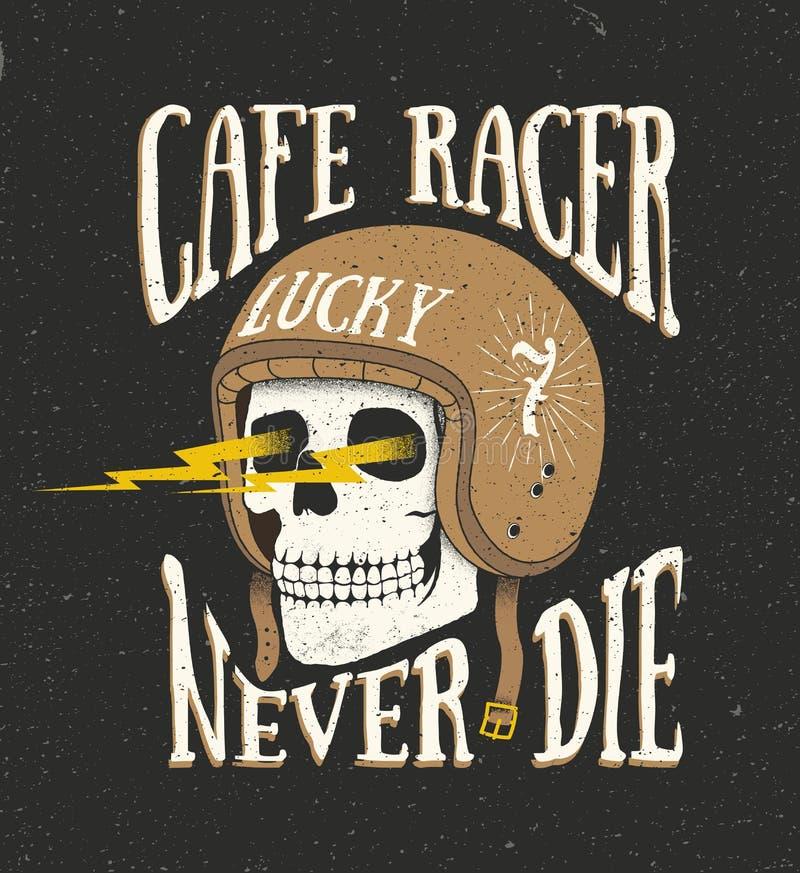 Vintage old school hand drawn styled vector label of skull in he. Lmet. Cafe racer theme. Vector illustration royalty free illustration