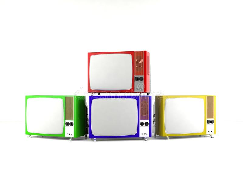 Vintage old television isolated stock photography