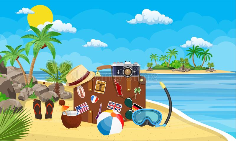 Vintage old travel suitcase on beach. stock illustration