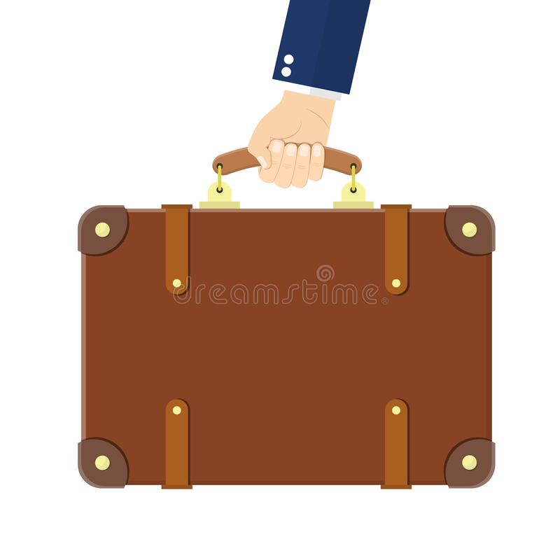 Vintage old travel suitcase in hand. vector illustration