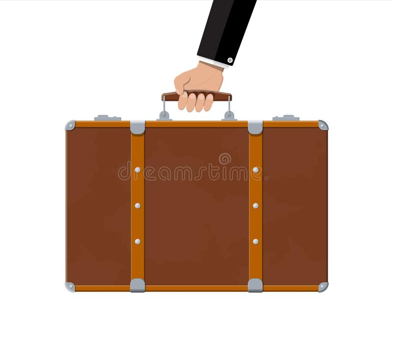 Vintage old travel suitcase in hand royalty free illustration