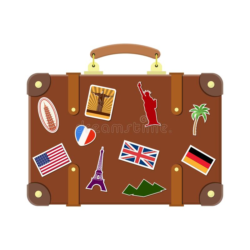 Vintage old travel suitcase. stock illustration
