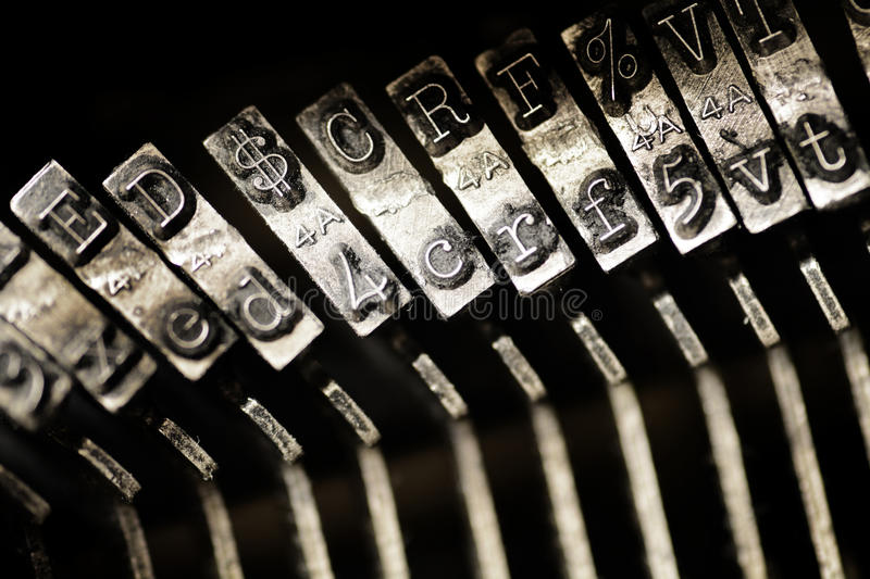 Vintage Old Typewriter Keys and Characters royalty free stock photo