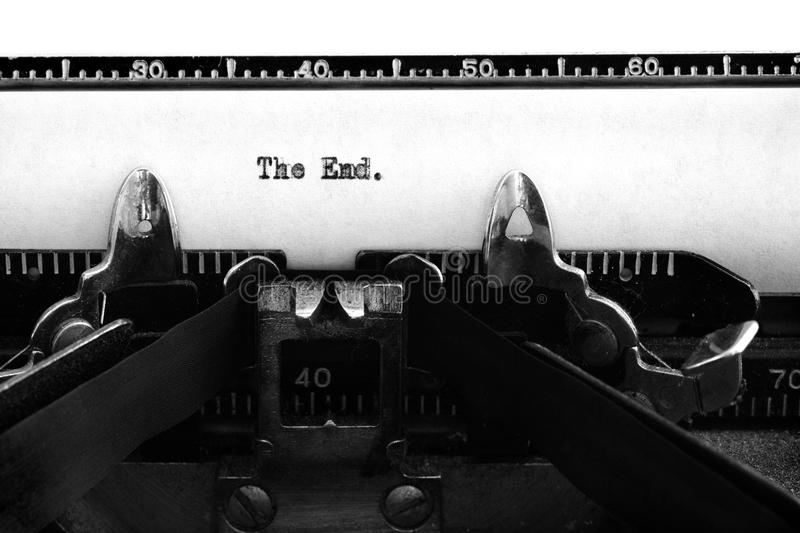 Vintage Old Typewriter Keys and Characters Typed Words The End S stock photography