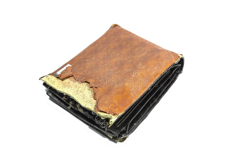 Vintage or Old wallet brown torn isolated on white background.  royalty free stock photos