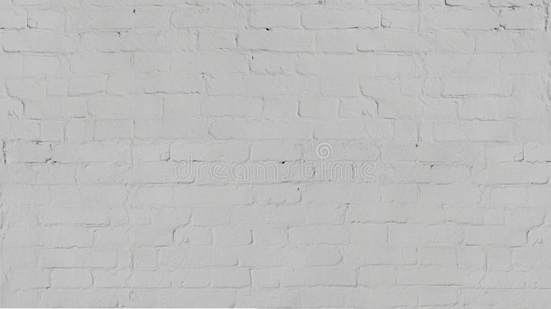 Vintage old white wash brick wall texture for design. Panoramic background for your text or image. stock image