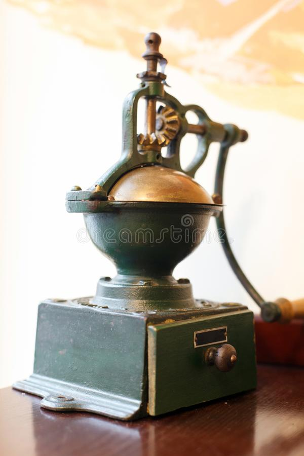 Vintage Old Wood And Metal Coffee and spice Grinder. Retro collection stock photography