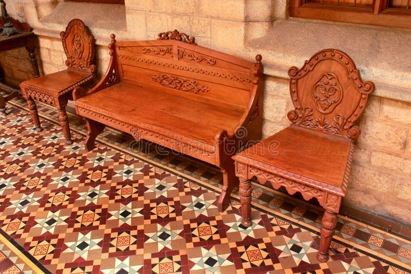 A vintage old wooden chairs. stock photography