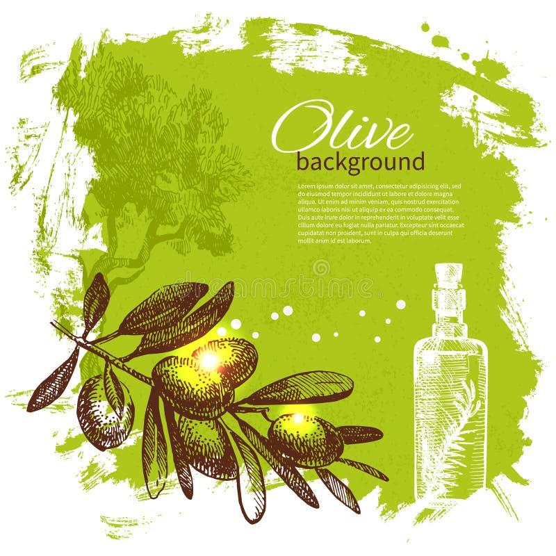 Vintage olive background. Hand drawn illustration stock illustration