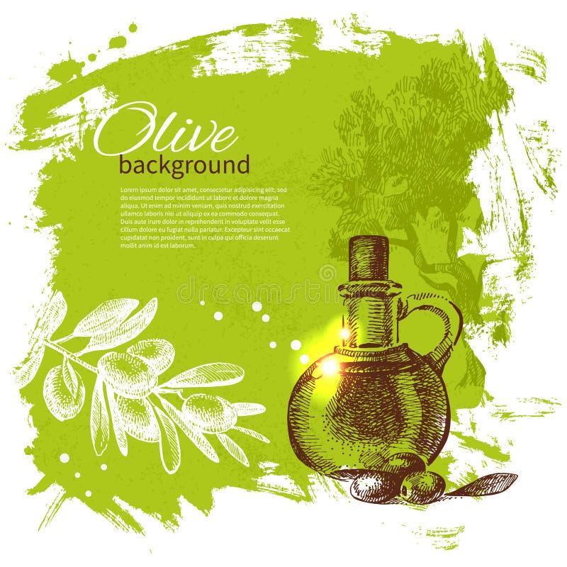 Vintage olive background. Hand drawn illustration royalty free illustration