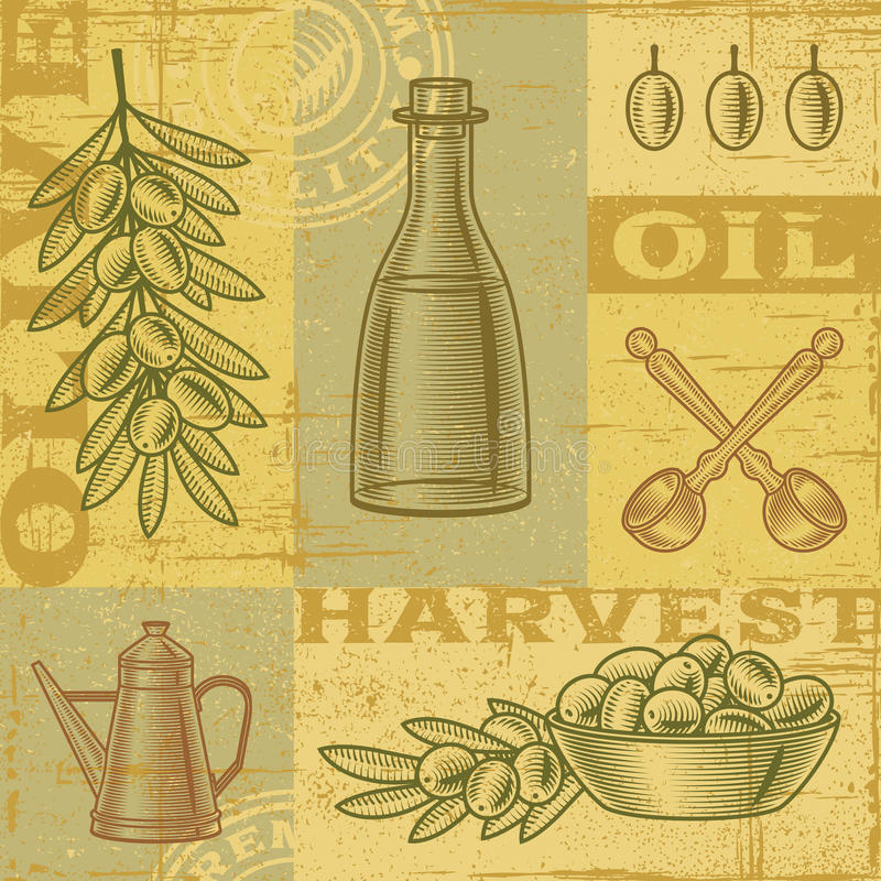 Vintage olive harvest background. In woodcut style. Vector illustration with clipping mask stock illustration
