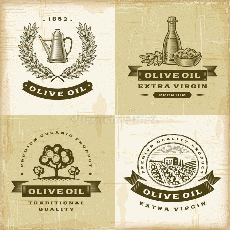 Free Vintage Olive Oil Labels Set Royalty Free Stock Image - 31767226