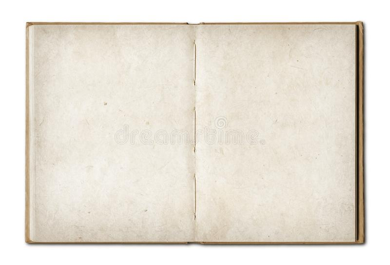 Vintage open book isolated on white background. Old vintage open book isolated on white background stock images