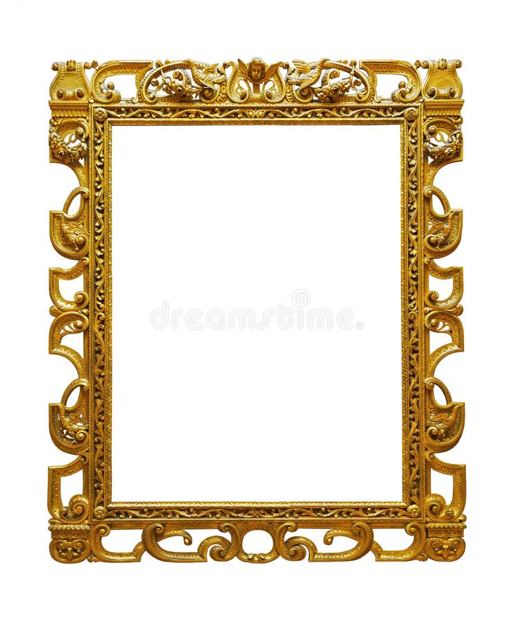 Vintage openwork gold plated wooden frame on white background royalty free stock photo