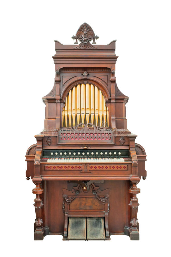 Vintage organ isolated with clipping path. stock photography
